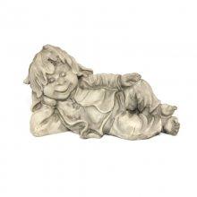 Gnom Kobolt Troll Wichtel mit weißen Schäfchen 14x6x6cm